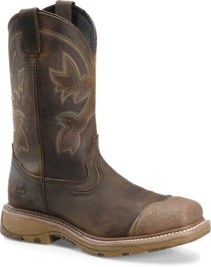 Cream Buster Leather  Brown Double H Boot 12 WorkFlex Wide Square Composite Toe