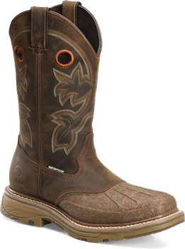 "Crazy Horse Brown Leather Double H Boot 13"" Workflex Waterproof Roper"