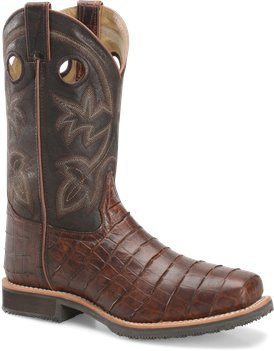 Chocolate Gator Double H Boot 12 Inch Wide Square ST Roper