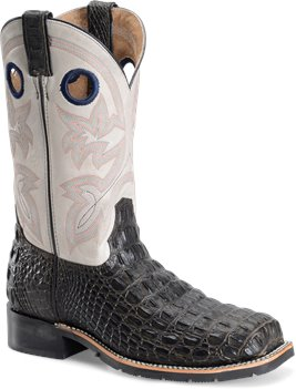 Chocolate Caiman Print Double H Boot 12 Wide Square Toe Roper