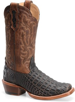 Chocolate Croc Print Double H Boot 13 Inch Cattle Baron Wide Square Toe Western