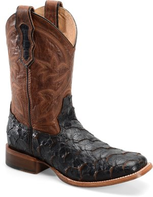 Cocoa Sea Bass Double H Boot 11 Inch Cattle Baron Wide Square Toe Roper