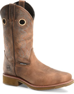 Light Brown Double H Boot Mens 12 Inch Waterproof Comp Toe Wide Square Toe Roper