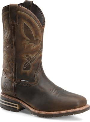 Light Brown Double H Boot Mens 12 Inch Waterproof Insulated Comp Toe Wide Square Roper