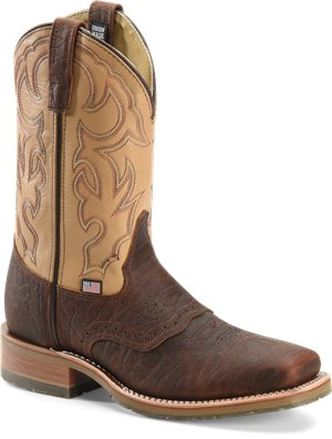Briar/Echo Taupe Double H Boot 11 Inch Steel Toe Bison Roper