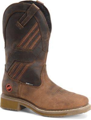 Brown Rye Double H Boot Mens 13 Inch Waterproof Wide Square Comp Toe Roper