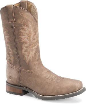Medium Brown Double H Boot 11 Inch Wide Square Toe Roper