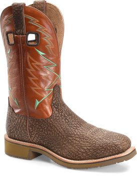 Dodge City/Orange Double H Boot Mens 11 Inch Steel Toe Square Toe Roper
