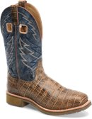 Double H Boot Mens 11 Inch Steel Toe Square Toe Roper in Antique Croc/Navy
