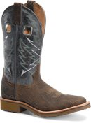 Double H Boot Mens 12 Inch Wide Square Toe Roper in Medium Brown Navy