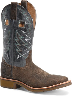 Medium Brown Navy Double H Boot Mens 12 Inch Wide Square Toe Roper