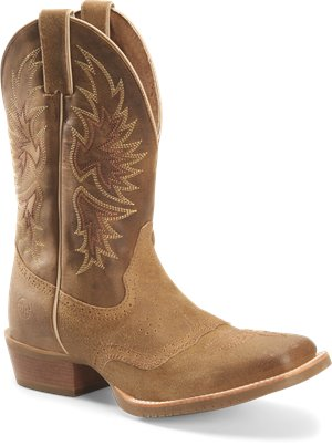 Medium Brown Double H Boot Mens 11 Inch Wide Square Toe Roper