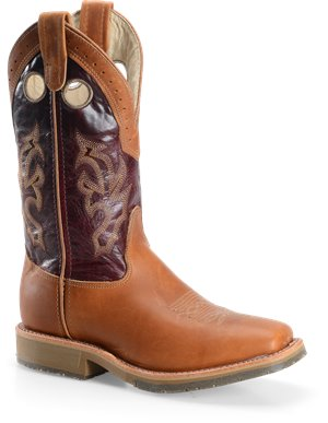 Tobacco Longhorn Double H Boot 11 Inch Wide Square Toe Roper