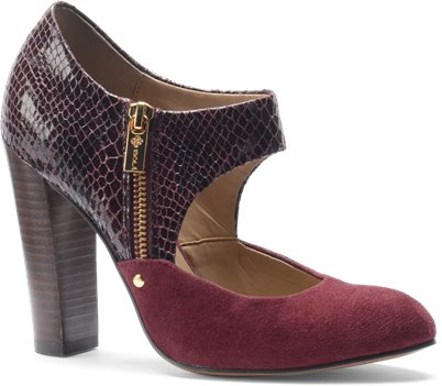 Bordo Red Suede-Snake Print Isola Tace