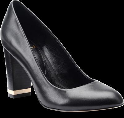 Diagonal view of Isola Eleni III in Black Premium Leather