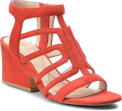 Diagonal view of Isola Lina in Lipstick Red Suede
