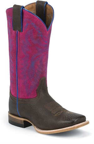 Chocolate Grizzly Pink Justin Boot Luckenbach