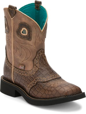Rust Copper Justin Boot Mandra Tan Gator