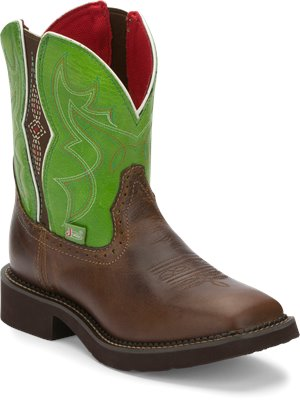Tan Justin Boot Mandra Green With Gore