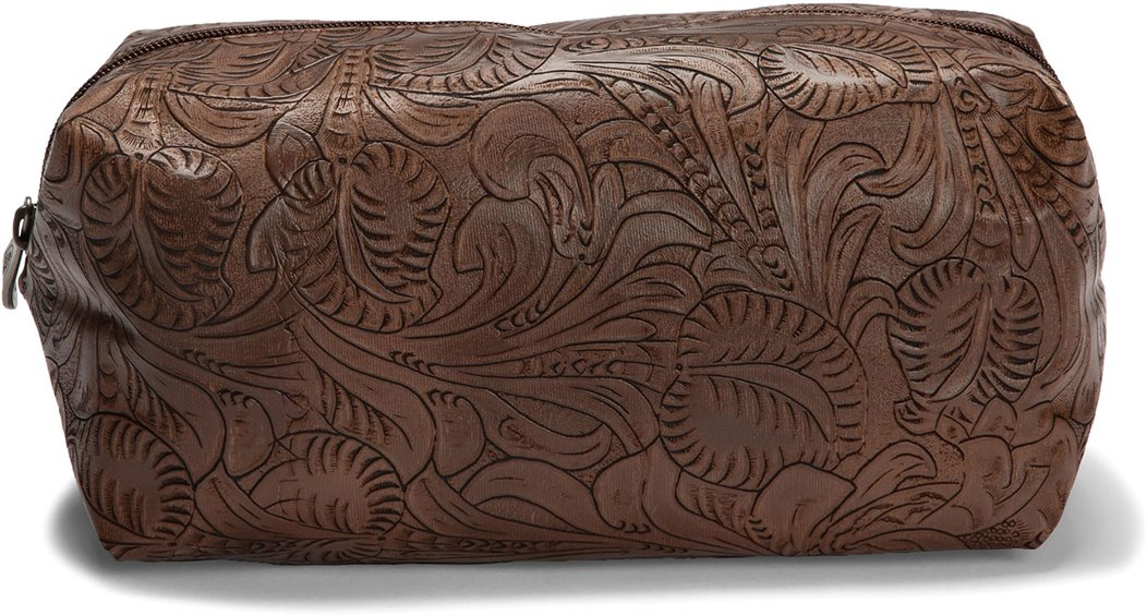 Image for JUSTIN LARGE COSMETIC BAG-BROWN TOOLED ; Style# 1902424CB