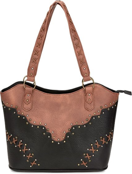 Image for JUSTIN TOTE-BLACK/CHESTNUT ; Style# 1964491T