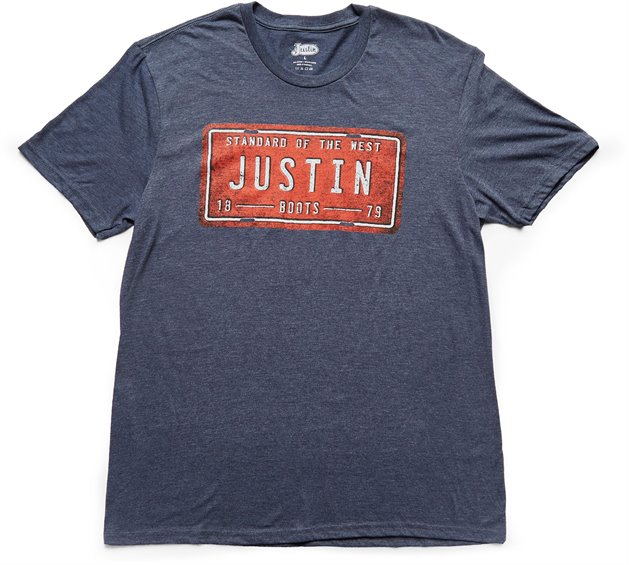 Justin Boots 1tee225 Justin Mens License Plate Heathered Navy