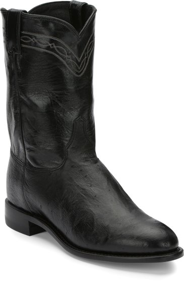 288c651352f JUSTIN BOOTS #3172 BROCK ROPER BLACK SMOOTH