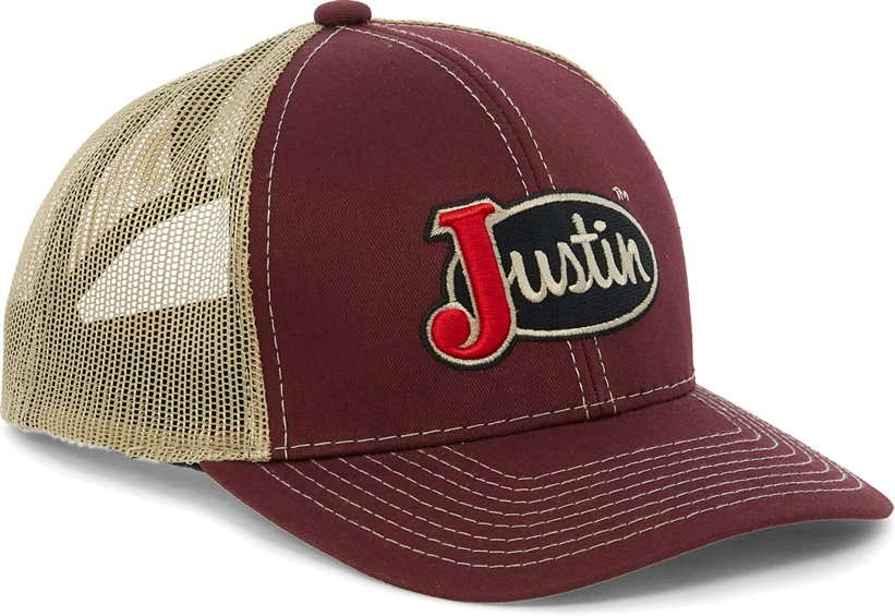 Image for JUSTIN CAP-MAROON W/TAN MESH ; Style# JCBC008M