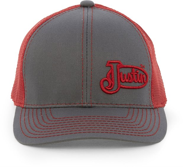 Image for JUSTIN CAP-CHARCOAL W/RED MESH ; Style# JCBC009CR