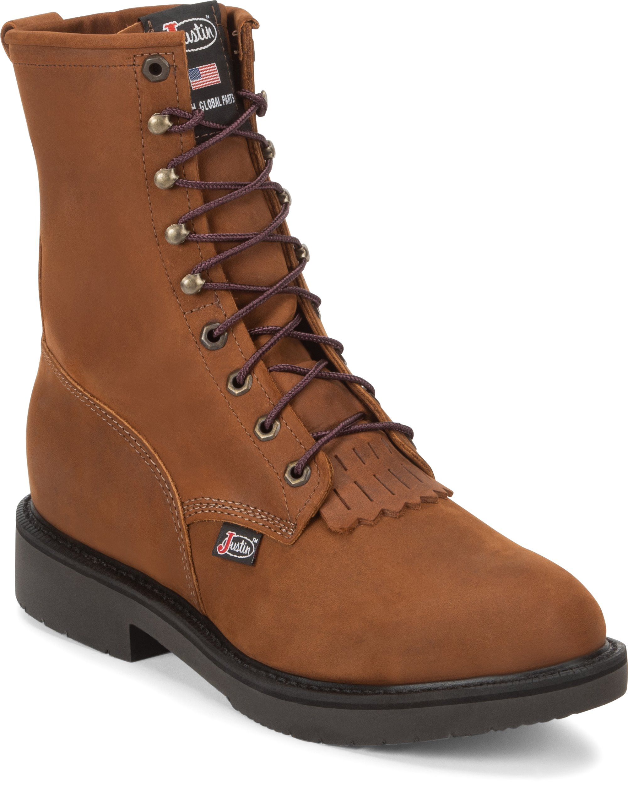 c06cc3f07a4 JUSTIN ORIGINAL WORKBOOTS #764 CONDUCTOR BROWN STEEL TOE 8