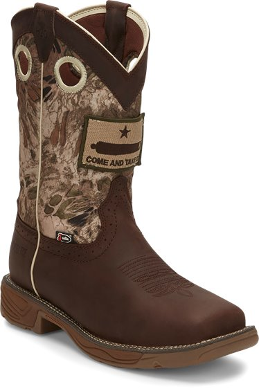 e2f69a272b1 JUSTIN ORIGINAL WORKBOOTS #WK4321 STAMPEDE RUSH GRIZZLY BROWN STEEL TOE