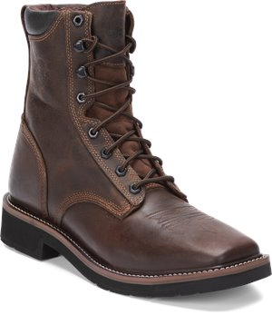 Dark Brown Justin Original Work Boots Pulley Soft Toe