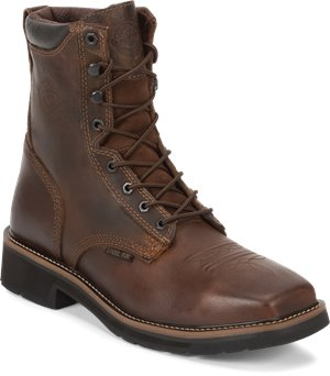 Rugged Tan Justin Original Work Boots Pulley Steel Toe