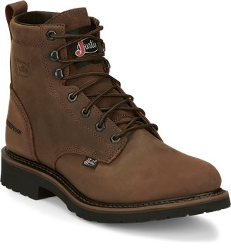 Peanut Brown Justin Original Work Boots Drywall Waterproof 6 Inch