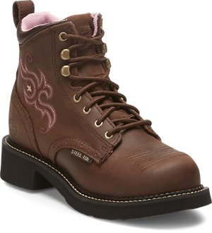 Medium Brown Justin Original Work Boots Katerina Steel Toe