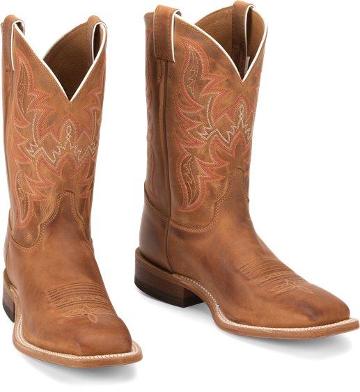 US M Justin Mens Bent Rail Distressed Cognac Cowboy Boot Square Toe Brown 6.5 D