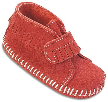 Red Minnetonka Front Strap Bootie