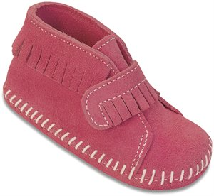 Hot Pink Minnetonka Front Strap Bootie