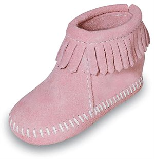 Hot Pink Minnetonka Velcro Back Flap Bootie