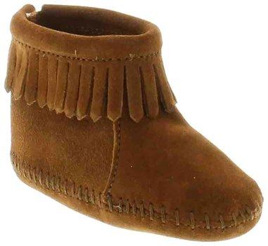 Brown Minnetonka Velcro Back Flap Bootie