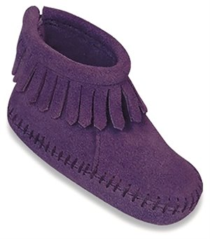 Purple Minnetonka Velcro Back Flap Bootie