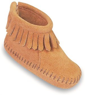Tan Minnetonka Velcro Back Flap Bootie