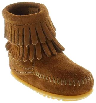 Brown Minnetonka Double Fringe Side Zip Bootie