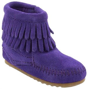 Purple Minnetonka Double Fringe Side Zip Bootie