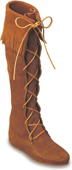 Brown Minnetonka Front Lace Hardsole Knee Hi