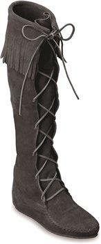 Black Minnetonka Front Lace Hardsole Knee Hi