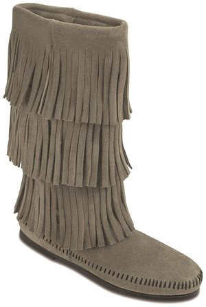 Grey Minnetonka Calf Hi 3-Layer Fringe Boot