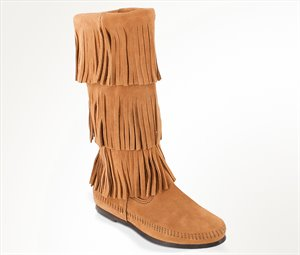 Taupe Minnetonka 3 Layer Fringe Boot