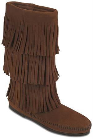 Dusty Brown Minnetonka Calf Hi 3-Layer Fringe Boot