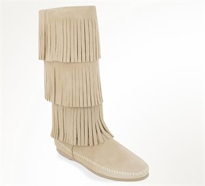 Stone Minnetonka 3 Layer Fringe Boot